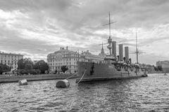 The cruiser the Aurora on the parking at Nakhimov Naval School in St. Petersburg Stock Photos