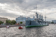 The cruiser the Aurora on the parking at Nakhimov Naval School in St. Petersburg Royalty Free Stock Photography