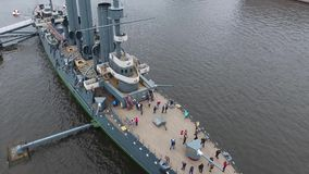 Cruiser Aurora in the River Neu, the city of St.Petersburg. stock video