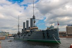 Cruiser Aurora in Saint-Petersburg. RUSSIA, SAINT PETERSBURG - AUGUST 18, 2017: Cruiser Aurora in Saint-Petersburg, Russia. Museum ship and symbol of October Stock Image