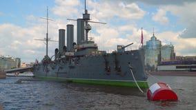Cruiser Aurora. Saint Petersburg stock video