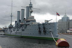 The cruiser Aurora in St. Petersburg. Stock Photo
