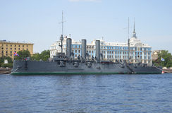 The cruiser Aurora. St. Petersburg Royalty Free Stock Photo