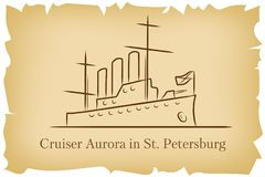 The Cruiser Aurora in St.Petersburg, Russia lineart illustration for logo, icon, poster, banner on background imitating brown old stock illustration