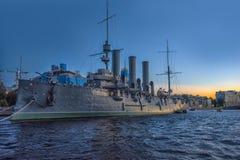 Cruiser Aurora at sunrise royalty free stock photos