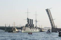 Cruiser Aurora transportation for repairs. St. Petersburg Stock Photos
