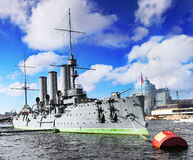 Cruiser Avrora In The City St-Petersburg Royalty Free Stock Image