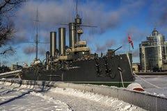 Cruiser Avrora in St. Petersburg royalty free stock photography