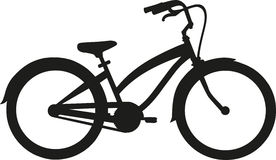 Cruiser Bike. Silhouette with many details Royalty Free Stock Photo