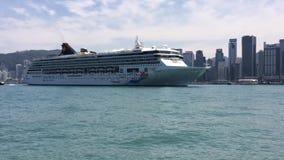 Cruiser boat in Hong Kong stock footage