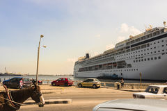 Cruiser at dock in Havana, Cuba stock images