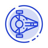 Cruiser, Fighter, Interceptor, Ship, Spacecraft Blue Dotted Line Line Icon royalty free illustration