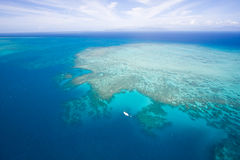 Cruiser in great barrier reaf. Aerial view of the Great Barrier Reaf in Australia Royalty Free Stock Photography