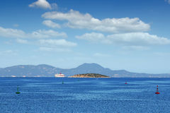 Cruiser Ionian sea Corfu. Island Royalty Free Stock Images