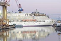 Cruiser liner on dackship Stock Photo