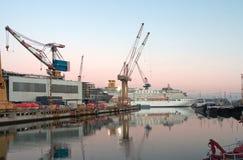 Cruiser liner on dackship. Cruiser liner on dack ship Stock Photo