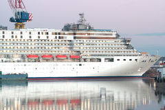 Cruiser liner on dackship. Cruiser liner on dack ship Stock Photos