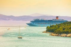 Cruiser liner in the port of Dubrovnik, Royalty Free Stock Photography
