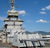 Cruiser 'Mikhail Kutuzov', main caliber. Cruiser 'Mikhail Kutuzov' in the Novorossisk port, main caliber, power of battleship (cruiser Stock Photography