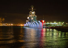 Cruiser Mikhail Kutuzov in Novorossiysk. Cruiser in the port at night Royalty Free Stock Image