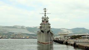 The cruiser Mikhail Kutuzov - the ship-museum stock video footage