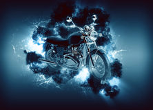 Cruiser motorcyle appears in cloud Stock Photo