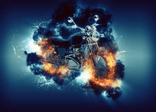 Cruiser motorcyle appears in cloud and fire. Digitally generated image of cruiser motorcyle appears in cloud with fire ball, cloud illuminated from behind on Royalty Free Stock Image