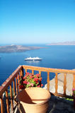 Cruiser and seascape. Santorini view with a cruisership in background royalty free stock photo