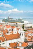 Cruiser Ship In The Cruise Port Of Lisbon Stock Image