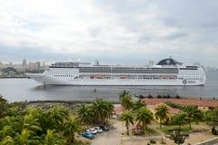 Cruiser ship entering the bay of Havana Royalty Free Stock Photography