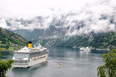 Cruiser ship in fjord, Norway Royalty Free Stock Image