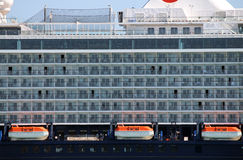 Cruiser ship with lifeboats. Detail Stock Images