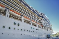 A closer look at the cruiser in the port. Cruiser ship at the port of Dubrovnik ,Croatia.The big one royalty free stock images