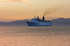 Cruiser ship sailing on Aegean sea Stock Images