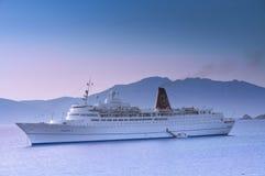 Cruiser ship sailing on Aegean sea Royalty Free Stock Photos