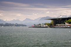 Cruiser ships on Lucerne lake, Switzerland. LUCERNE, SWITZERLAND - JUNE 12, 2013: Cruiser ships on Lucerne lake, Switzerland Royalty Free Stock Photography