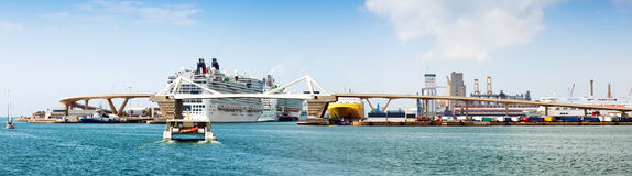 Cruiser terminals at the Port of Barcelona.  Spain. Panorama of Cruiser terminals at the Port of Barcelona.  Spain Royalty Free Stock Photography