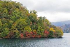 Cruisereis langs Chuzenji-Meer in de herfst, Nikko, Japan royalty-vrije stock fotografie