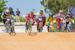 Cruisers first jump. ESTARREJA, PORTUGAL - MAY 11, 2014: Cruisers first jump during the Taca de Portugal Bmx Stock Image