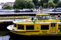 Cruisers at Muhlendamme Schleus lock on River Spree in Berlin Germany. The Capital city of Berlin is a vibrant city filled with cultural activities such as Stock Image