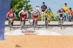 Cruisers start. ESTARREJA, PORTUGAL - MAY 11, 2014: Cruisers start during the Taca de Portugal Bmx Stock Photo