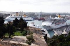 Cruises in malta. Two cruises ship in the historic port of la valletta at malta Royalty Free Stock Image