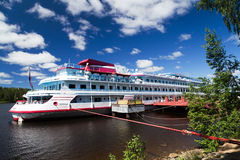 Cruises on river Mandrogi a crafts village on the Svir river. Stock Images