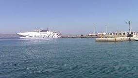 Cruises ship. In Koufunissi port, Cycladic islands, Greece stock video