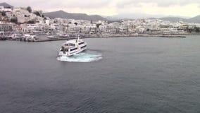 Cruises ship. Leaving Naxos port, Cycladic islands, Greece stock video