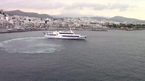 Cruises ship leaving Naxos port, Greece. Cruises ship leaving Naxos port, Cycladic islands, Greece stock video