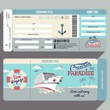 Cruises to Paradise boarding pass design. Cruises to Paradise. Cruise ship boarding pass flat graphic design template. Face and back side vector illustration