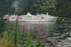 Cruiseschepen bij anker in Geiranger royalty-vrije stock foto
