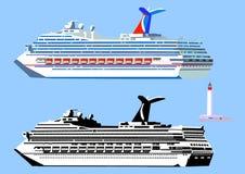 Cruiseschepen en vuurtoren Stock Afbeeldingen