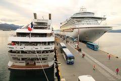 Cruiseschepen in Ushuaia, Argentinië Stock Foto's
